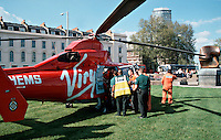 HEMS, helicopter emergency medical service, paramedics and doctors and ambulance crews load a patient onto the helicopter on a stretcher to rush him to the crash room of the A&E department of a hospital. This image may only be used to portray the subject in a positive manner. © shoutpictures.com. john@shoutpictures.com