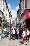 People shopping in Little Brittox street, Devizes, Wiltshire, England