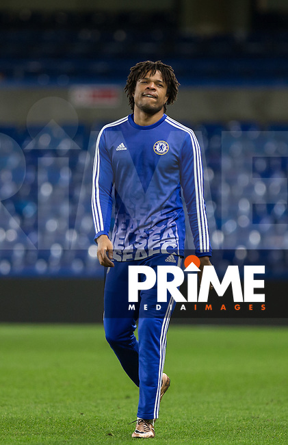 Unused substitute Loic Remy of Chelsea warms down after the game during the FA Cup 5th round match between Chelsea and Manchester City at Stamford Bridge, London, England on 21 February 2016. Photo by Andy Rowland.