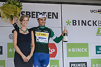 Piet Allegaert (BEL/Sport Vlaanderen Baloise) on podium as final winner of the Combativity Classification.<br /> <br /> Binckbank Tour 2017 (UCI World Tour)<br /> Stage 7: Essen (BE) &gt; Geraardsbergen (BE) 191km