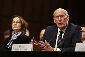 """Director Daniel Coats, Office of the Director of National Intelligence (ODNI), right, testifies before the United States Senate Select Committee on Intelligence during an open hearing on """"Worldwide Threats"""" on Capitol Hill in Washington, DC on Tuesday, January 29, 2019.  looking on from left is Director Gina Haspel, Central Intelligence Agency (CIA).<br /> Credit: Martin H. Simon / CNP"""
