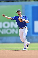 Asheville Tourists second baseman Taylor Snyder (28) throws to first base during a game against the Rome Braves at McCormick Field on September 3, 2018 in Asheville, North Carolina. The Tourists defeated the Braves 5-4. (Tony Farlow/Four Seam Images)