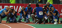 08 JUL 2011 - PARIS, FRA - Usain Bolt poses for photographers after winning the men's 200m race at the Meeting Areva round of the Samsung Diamond League (PHOTO (C) NIGEL FARROW)