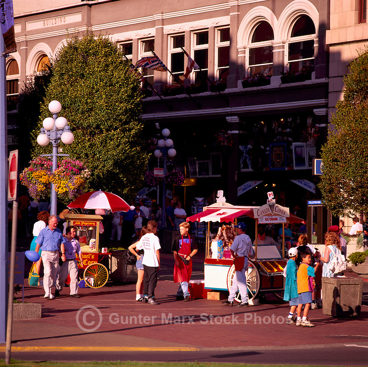 Street Vendors and Tourists, Downtown Victoria, BC, Vancouver Island, British Columbia, Canada