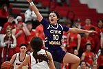 Civic Memorial guard Kourtland Tyus leaps and tries to block a Highland pass. Highland played Civic Memorial in the Class 3A Effingham sectional championship game at Effingham High School in Effingham, Illinois on Thursday February 27, 2020. <br /> Tim Vizer/Special to STLhighschoolsports.com