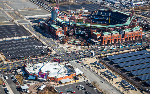 Aerial view of the start of Philadelphia Eagles Superbowl Victory Parade above the Sports Complex in South Philly on February 8, 2018 .    Julia Robertson /via AP Images.