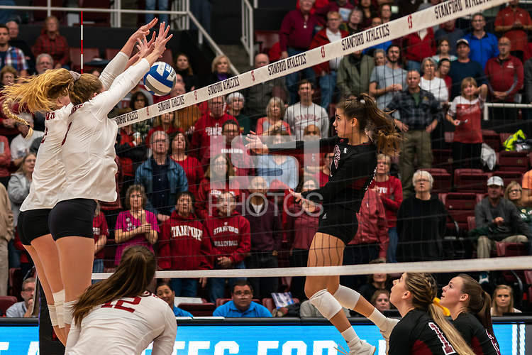 STANFORD, CA - DECEMBER 8: Stanford, CA December 6, 2019. The Stanford Cardinal Women's volleyball team vs Denver Pioneers at Maples Pavilion.  Stanford Cardinal defeats Denver Pioneers 3-0 during a game between Denver Pioneers NCAA Volleyball 1st Round and Stanford Volleyball W at Maples Pavilion on December 8, 2019 in Stanford, California.