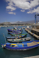 Small fishing boats moored at Las Galletas harbour,Tenerife, Canary Islands