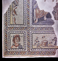 Roman mosaics - Seasons  Mosaic. Telete Villa.  2nd - 3rd century AD . Zeugma Mosaic Museum, Gaziantep, Turkey.   Against a black background.<br /> <br /> Seasons mosaic Telete, was unearthed during the rescue excavations y Gaziantep Museum in 1994 when it was about to be stolen by the traffickers. It is the floor mosaic of a villa terrace located on the western skins of Zeugma hill <br /> <br /> The pane% consists of nine parts. At the central panel, Eros, who Is a mythological character and who has a crown on his head, sits side by side with Telete, the daughter of Dionysus. This representation symbolises the preparation of a young woman who is just about to taste the love and to become mature. There are busts of seasonal gods In the square panels at the corners. The crowned head of the Spring Goddess Ear Is slightly towards right. She wears a floral necklace. Her righr shoulder is naked and the crimps of her cloak are seen on her left shoulder. There is the bust of the river god on the top-right of the Telete panel. A kid lying on the grass and a bucket are pictured in the lower rectangular panel. In the western-side rectangular panel, on the other hand, there are four fish going in and out of a game basket. There is a rabbit figure within the rectangular panel on the right. Mythical narrations and natural life are intertwined in this mosaic.