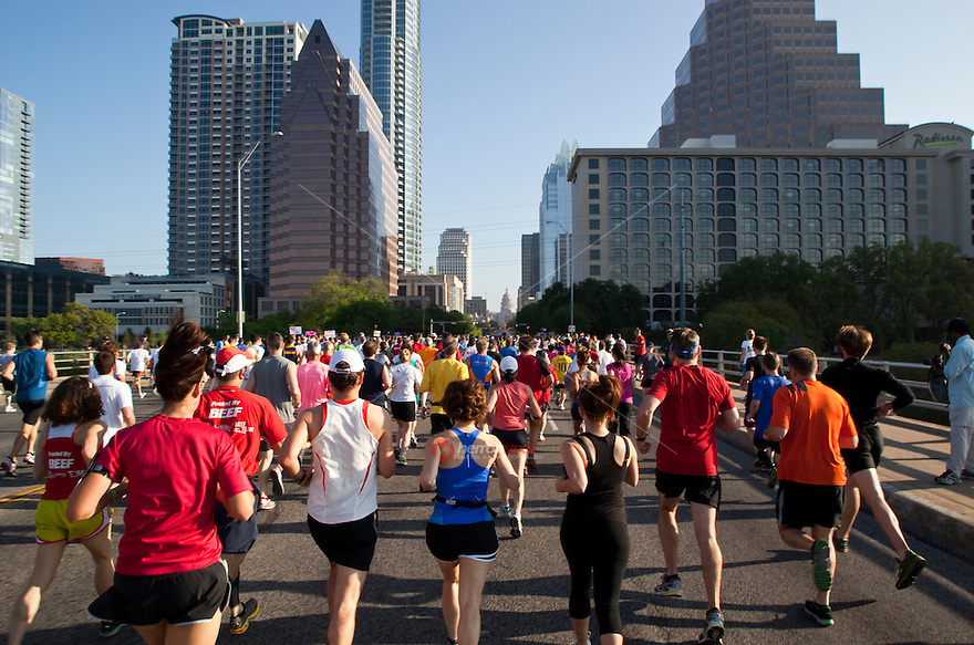 Runners at start of annual 10K race in downtown Austin, Texas