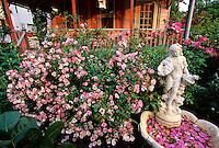 Blooming Rose Garden and summertime porch, New Jersey