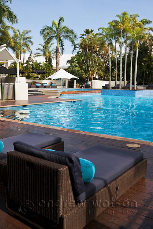 Swimming pool at Shangri-La Hotel.  The Pier, Cairns, Queensland, Australia