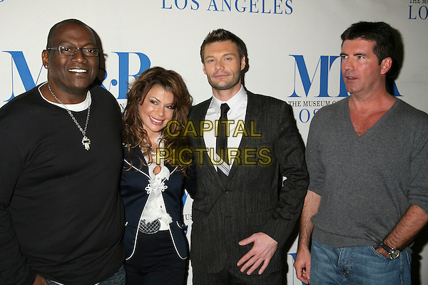 RANDY JACKSON, PAULA ABDUL, RYAN SEACREST & SIMON COWELL.MT&R's 24th Annual William S. Paley Television Festival - American Idol at the Directors Guild, West Hollywood, California, USA..March 1st, 2007.half length black trousers jacket white jacket top grey gray.CAP/ADM/BP.©Byron Purvis/AdMedia/Capital Pictures