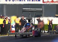 Feb 6, 2015; Pomona, CA, USA; NHRA top fuel driver Steve Faria during qualifying for the Winternationals at Auto Club Raceway at Pomona. Mandatory Credit: Mark J. Rebilas-
