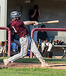 NAUGATUCK , CT-072920JS06—Naugatuck's Zach Royka (23) takes a cut at a pitch pulling it foul during their CT Elite Baseball Association's game against Bethel Wednesday at Naugatuck High School. <br />  Jim Shannon Republican-American