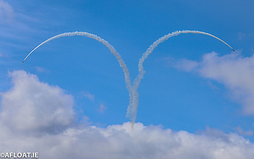 Heartfelt: Red Bull stunt planes make shapes in the sky over Dublin as a tribute to COVID-19 front line staff