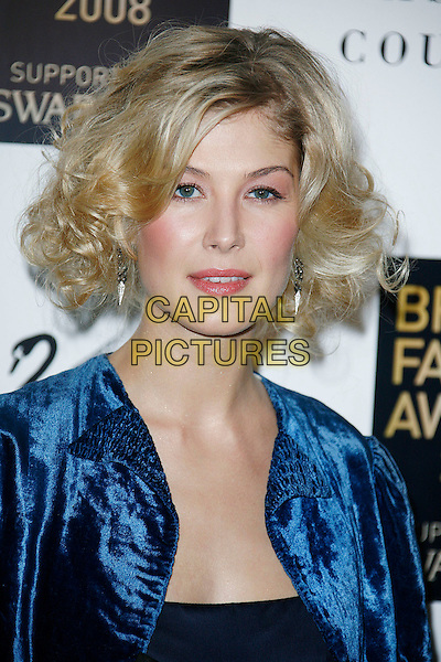 ROSAMUND PIKE .Attending the British Fashion Awards 2008 held at The Lawrence Hall in London, England, UK, .November 25th 2008..Arrivals portrait headshot blusher pink cheeks make-up blue jacket bob wavy hair velvet .CAP/DAR.©Darwin/Capital Pictures