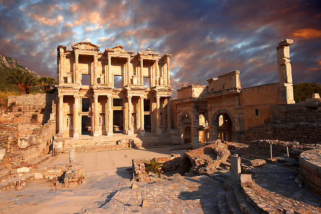 photo & image of The library of Celsusat sunrise . Images of the Roman ruins of Ephesus, Turkey. Stock Picture & Photo art prints