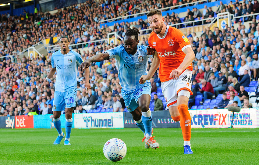 Blackpool's James Husband vies for possession with Coventry City's Fankaty Dabo <br /> <br /> Photographer Chris Vaughan/CameraSport<br /> <br /> The EFL Sky Bet League One - Coventry City v Blackpool - Saturday 7th September 2019 - St Andrew's - Birmingham<br /> <br /> World Copyright © 2019 CameraSport. All rights reserved. 43 Linden Ave. Countesthorpe. Leicester. England. LE8 5PG - Tel: +44 (0) 116 277 4147 - admin@camerasport.com - www.camerasport.com