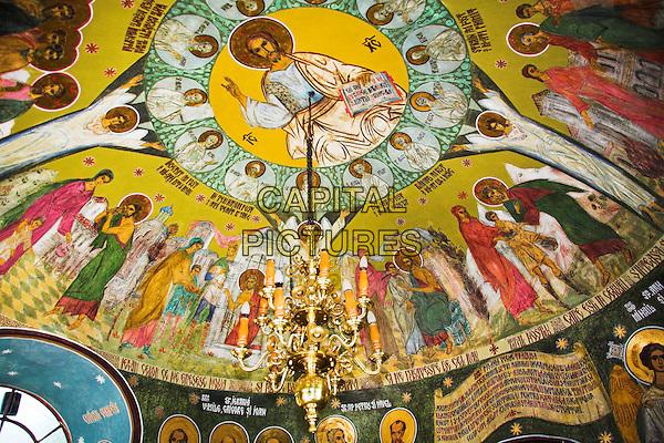 Fresco on ceiling, Church of the Holy Three Hierarchs, Biserica Sfanta Trei Ierarhi, Piatra Neamt, Moldavia, Romania