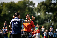 Sergio Garcia (ESP) sinks his putt on the 18th green to win his 3rd Valderrama Masters at the end of Monday's storm delayed Final Round 3 of the Andalucia Valderrama Masters 2018 hosted by the Sergio Foundation, held at Real Golf de Valderrama, Sotogrande, San Roque, Spain. 22nd October 2018.<br /> Picture: Eoin Clarke | Golffile<br /> <br /> <br /> All photos usage must carry mandatory copyright credit (&copy; Golffile | Eoin Clarke)