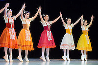 Third year students of the Hungarian Dance Academy perform the Clog Dance from The Wayward Daughter choreographed by Kazats, music by Peter Ludwig Hertel during a gala performance held at the National Dance Theatre in Budapest, Hungary on February 27, 2013. ATTILA VOLGYI