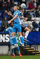 Bolton Wanderers' Sonny Graham (right) competing in the air with Coventry City's Jordan Shipley <br /> <br /> Photographer Andrew Kearns/CameraSport<br /> <br /> The EFL Sky Bet Championship - Bolton Wanderers v Coventry City - Saturday 10th August 2019 - University of Bolton Stadium - Bolton<br /> <br /> World Copyright © 2019 CameraSport. All rights reserved. 43 Linden Ave. Countesthorpe. Leicester. England. LE8 5PG - Tel: +44 (0) 116 277 4147 - admin@camerasport.com - www.camerasport.com
