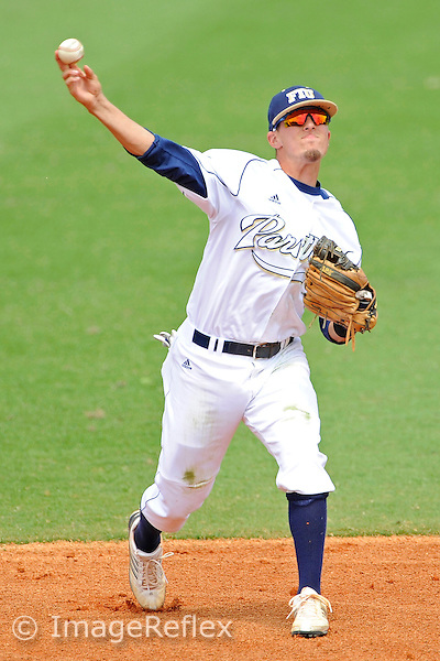 21 March 2010:  FIU's Junior Arrojo (13) throws to first as the Troy Trojans averted a sweep by defeating the FIU Golden Panthers, 14-12, at University Park in Miami, Florida.