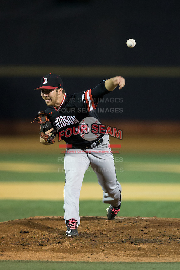 Davidson Wildcats starting pitcher Andrew Ashur (18) delivers a pitch to the plate against the Wake Forest Demon Deacons at David F. Couch Ballpark on February 28, 2017 in Winston-Salem, North Carolina.  The Demon Deacons defeated the Wildcats 13-5.  (Brian Westerholt/Four Seam Images)