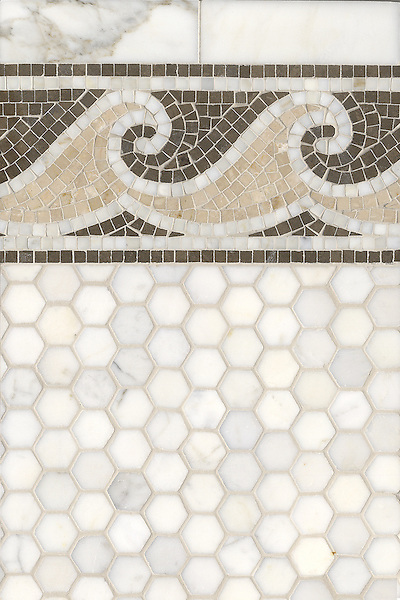 Name: Jordan Wave with 3 cm Hex<br /> Style: Classic<br /> Product Number: CB0534<br /> Description: Jordan Wave with 3 cm Hex in Calacatta Tia, Botticino, Statuary Carrara (p), Montevideo (h)