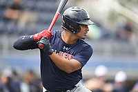 TEMPORARY UNEDITED FILE:  Image may appear lighter/darker than final edit - all images cropped to best fit print size.  <br /> <br /> Under Armour All-American Game presented by Baseball Factory on July 19, 2018 at Les Miller Field at Curtis Granderson Stadium in Chicago, Illinois.  (Mike Janes/Four Seam Images) Jonathan French is a catcher from Parkview High School in Lilburn, Georgia committed to Clemson.