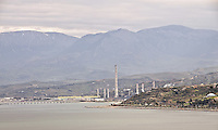 Industrial hub in Termini Imerese built during the sixty just on the coast. <br /> Zona Industriale di Termini Imerese, costruita negli anni 60'sulla costa.