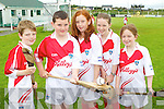 Pictured at the Ballyheigue Hurling Cúl Camp on Friday, from left: Jack Thornton, Shane O'Connell, Lorraine Kenny, Fiona Quirke and Emma Woods..