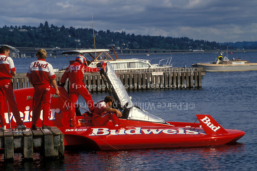 "Chip Hanauer climbs into the U-1 ""Miss Budweiser T-3"" for what would be it's final run."