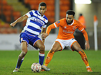 Reading's Andy Rinomhota under pressure from Blackpool's Grant Ward<br /> <br /> Photographer Kevin Barnes/CameraSport<br /> <br /> Emirates FA Cup Third Round Replay - Blackpool v Reading - Tuesday 14th January 2020 - Bloomfield Road - Blackpool<br />  <br /> World Copyright © 2020 CameraSport. All rights reserved. 43 Linden Ave. Countesthorpe. Leicester. England. LE8 5PG - Tel: +44 (0) 116 277 4147 - admin@camerasport.com - www.camerasport.com