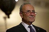 United States Senate Minority Leader Chuck Schumer (Democrat of New York) speaks at a press conference following weekly policy luncheons on Capitol Hill in Washington D.C., U.S. on July 30, 2019. <br /> <br /> Credit: Stefani Reynolds / CNP