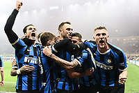 9th February 2020, Milan, Italy; Serie A football, AC Milan versus Inter-Milan;  Inter Milan players celebrte the goal from  Stefan de Vrij making the score 3-2