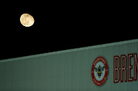 11th February 2020; Griffin Park, London, England; English Championship Football, Brentford FC versus Leeds United; The Moon rises above Griffin Park during the 2nd half