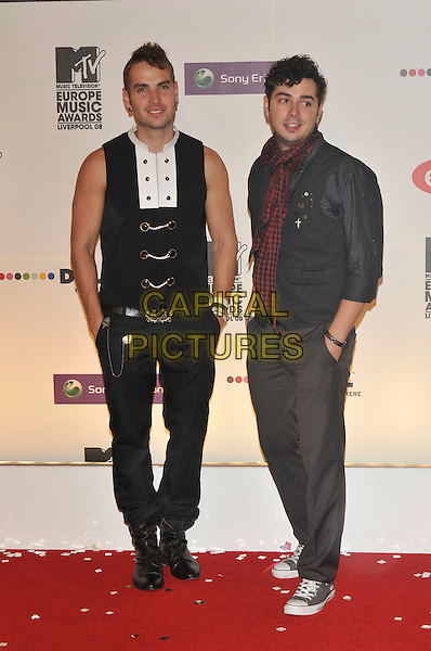 MARIUS MOGA & ANDREI STEFAN ROPCEA of Morandi .2008 MTV Europe Music Awards arrivals at Echo Arena, Liverpool, England..6th November 2008.EMA full length black sleeveless jeans denim hands in pockets .CAP/PL.©Phil Loftus/Capital Pictures.