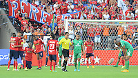 MEDELLÍN -COLOMBIA-22-02-2015. Jugadores de Independiente Medellín celebran la victoria sobre La Equidad en partido por la fecha 5 de la Liga Águila I 2015 jugado en el estadio Atanasio Girardot de la ciudad de Medellín./ Players of Independiente Medellin celebrate the victory over La Equidad in match for the  5th date of the Aguila League I 2015 at Atanasio Girardot stadium in Medellin city. Photo: VizzorImage/León Monsalve/STR