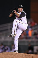 Lansing Lugnuts pitcher Brady Dragmire (17) delivers a pitch during a game against the South Bend Silver Hawks on June 6, 2014 at Cooley Law School Stadium in Lansing, Michigan.  South Bend defeated Lansing 13-5.  (Mike Janes/Four Seam Images)