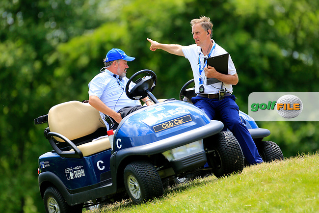 Referees during the third round of the Lyoness Open powered by Organic+ played at Diamond Country Club, Atzenbrugg, Austria. 8-11 June 2017.<br /> 10/06/2017.<br /> Picture: Golffile | Phil Inglis<br /> <br /> <br /> All photo usage must carry mandatory copyright credit (&copy; Golffile | Phil Inglis)