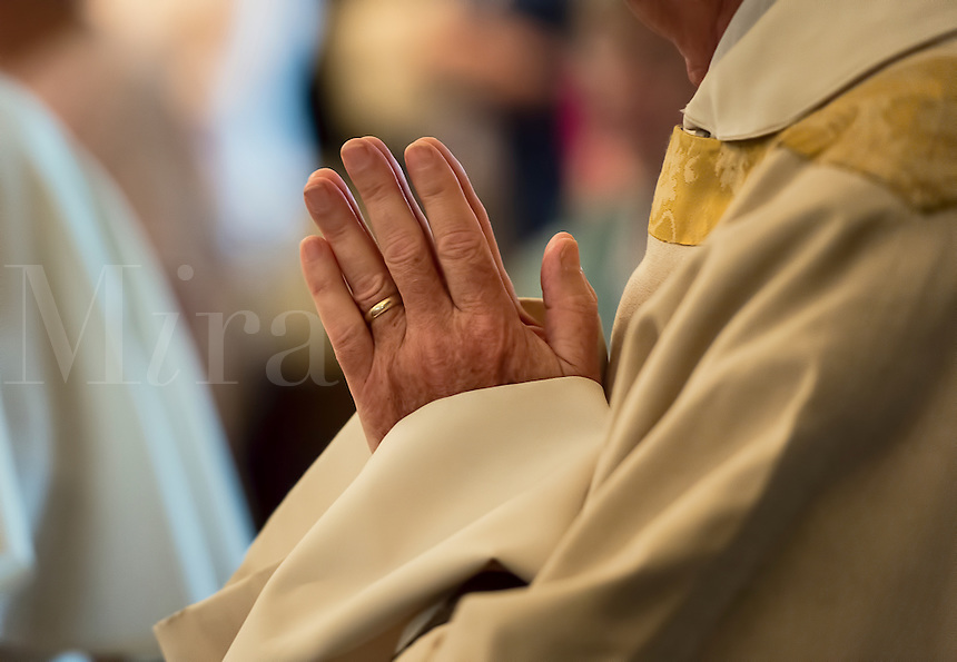 Praying hands of a priest.