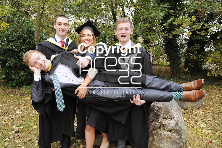 23/10/2014  With Compliments, <br /> Attending the Mary Immaculate College Graduation Day were Ian Hickey, Caherdavin, Lorna Kiely, Raheen, Limerick, Oisin Fahey, Ardrahan, Galway and Eanna Burns, Sixmilebridge, Clare, who all graduated with a BA in Arts.<br /> Close to 1000 students from 23 counties and 3 continents were conferred with academic awards across the College&rsquo;s 27 programmes in addition to 13 students being conferred with PhD awards.<br /> Pic: Gareth Williams / Press 22