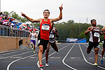 28 MAY 2016: Hugh Pegan of Occidental celebrates as he wins the men's 200 meter race during the Division III Men's and Women's Outdoor Track & Field Championship held at Walston Hoover Stadium on the Wartburg College campus in Waverly, IA. Pegan won the race with a time of 21.59. Conrad Schmidt/NCAA Photos