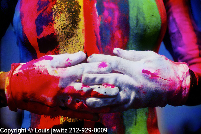 colorful, hand, gloves,leotards, batik ,Dressing Up, Peace, People, Concepts & Topics, Performance, Creativity, Imagination, Concentration, horizontal,  Front View, Black Hair, Serious, Performer, Standing, Gesturing, Pointing, Playful ,hands, , Glove, One Person, body Paint, Adult, Young Adult, Cut Out, Color Image, Mime, Peace Sign, Copy Space, Women, Young Women, One Young Woman Only, Only Women, One Woman Only, Photography, Adults Only, Arts Culture and Entertainment, Background,white,white gloves,