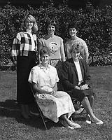 1986: Women's Basketball Coaching Staff: <br />Standing, left to right: Admin. Asst. Carolyn Walker, Head Coach Tara VanDerveer, Asst. Coach Julie Plank. <br />Sitting, left to right: Asst. Coach Amy Tucker, Asst. Coach June Daugherty.