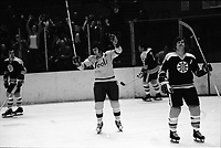Seals Ivan Boldirev scores goal against the Boston Bruins Bobby Orr right. (1970 /photo Ron Riesterer)