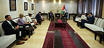 Palestinian Prime Minister Mohammad Ishtayeh meets with Chairman of the Foreign Affairs Committee of the House of Representatives, Elliott Engel, in the West Bank city of Ramallah, May 30, 2019. Photo by Prime Minister Office