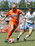 Florida's Shelley Lyle (88) is chased by North Carolina's Yael Averbuch (17) on Sunday September 17th, 2006 at Koskinen Stadium on the campus of the Duke University in Durham, North Carolina. The University of North Carolina Tarheels defeated the University of Florida Gators 1-0 in an NCAA Division I Women's Soccer game.